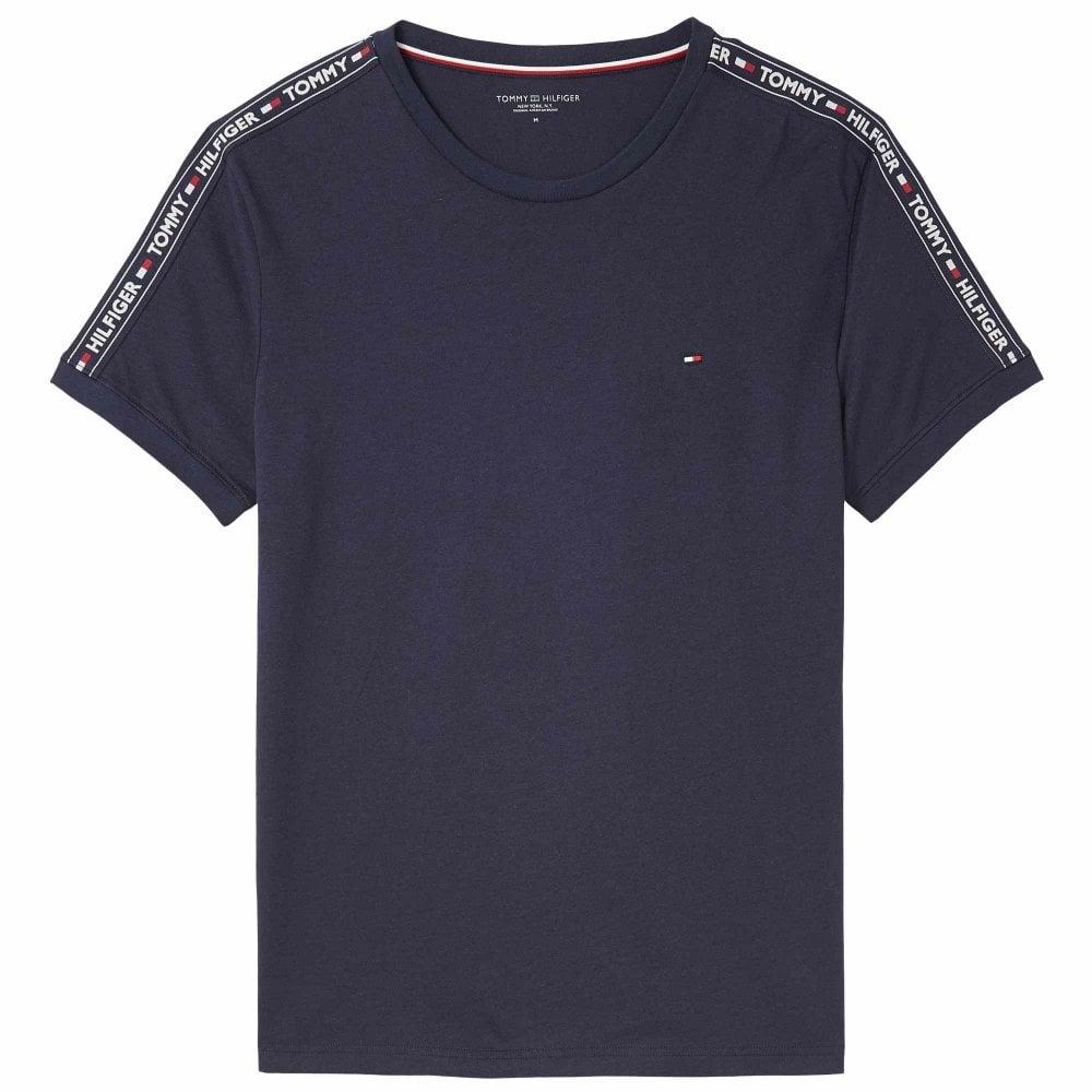 c739bb5e Tommy Hilfiger Logo Tape Crew Neck T-Shirt, Navy