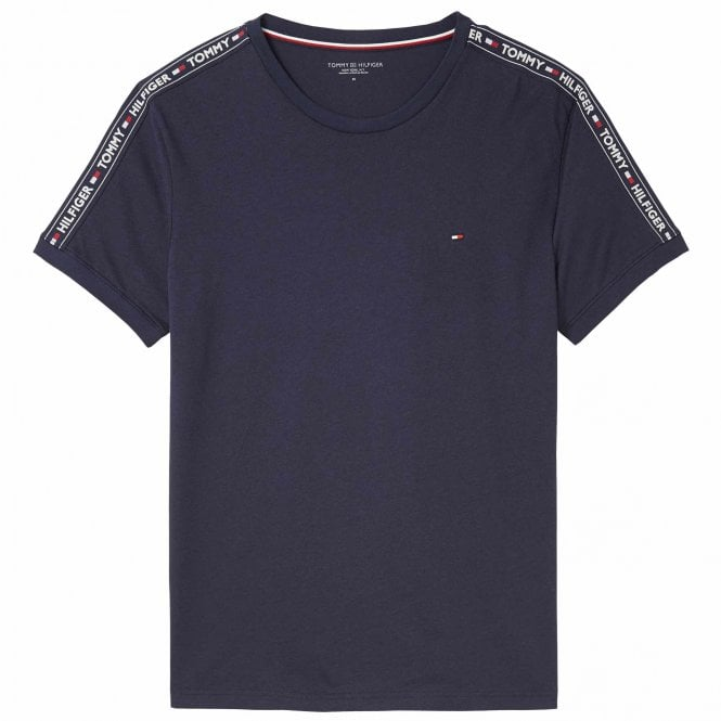 Tommy Hilfiger Logo Tape Crew Neck T-Shirt, Navy