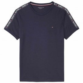 Logo Tape Crew Neck T-Shirt, Navy