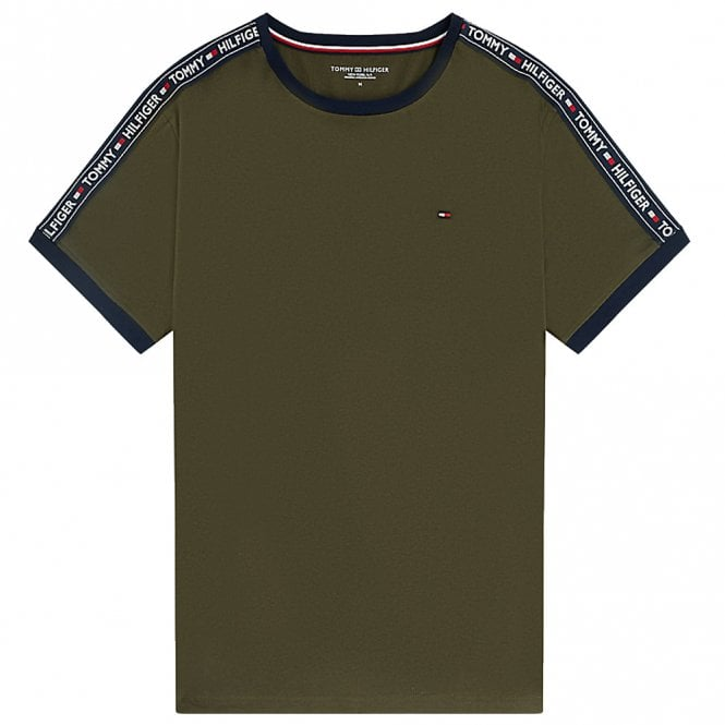 Tommy Hilfiger Logo Tape Crew Neck T-Shirt, Olive Night Green