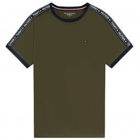 Logo Tape Crew Neck T-Shirt, Olive Night Green