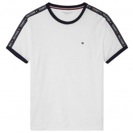Logo Tape Crew Neck T-Shirt, White