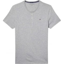 Organic Cotton Short Sleeved Henley T-Shirt, Heather Grey