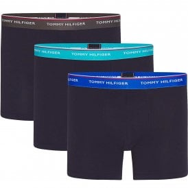 Premium Essentials Stretch Cotton 3-Pack Boxer Brief, Navy With Dark Ash/Aquatic Teal/Electric Blue