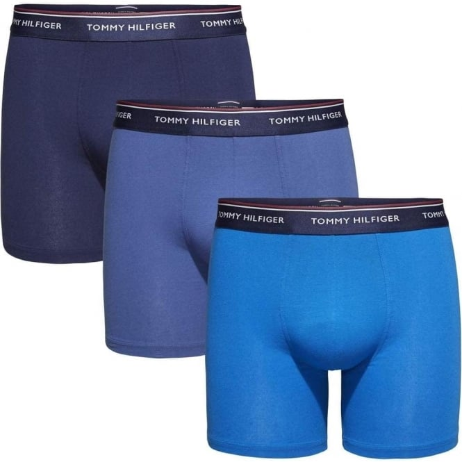 Tommy Hilfiger Premium Essentials Stretch Cotton 3-Pack Boxer Brief, True Navy/Peacoat/Imperial Blue
