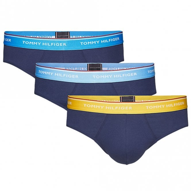 Tommy Hilfiger Premium Essentials Stretch Cotton 3-Pack Brief, Ethereal Blue / Freesia / Hawain Ocean