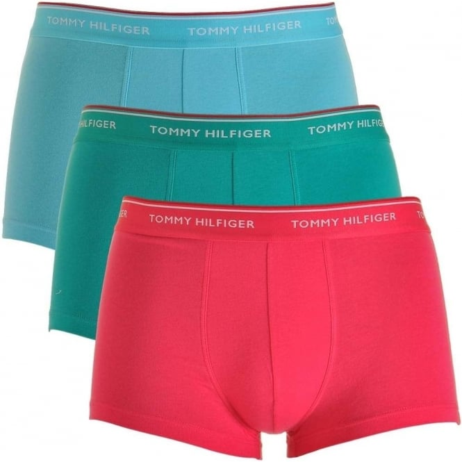 Tommy Hilfiger Premium Essentials Stretch Cotton 3-Pack Low Rise Trunk, Bachelor Button / Columbia / Raspberry