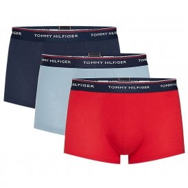 Premium Essentials Stretch Cotton 3-Pack Low Rise Trunk, Faded Denim / Tango Red / Peacoat