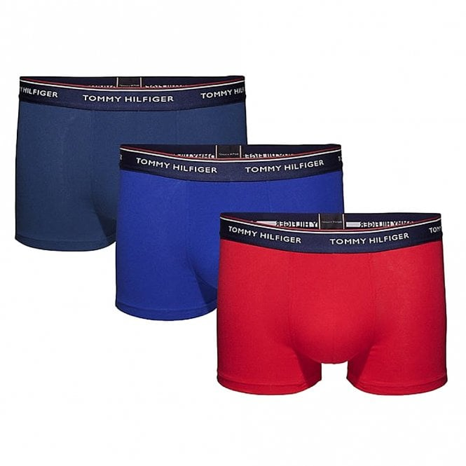 Tommy Hilfiger Premium Essentials Stretch Cotton 3-Pack Trunk, Insignia / Tango Red / Sodalite Blue