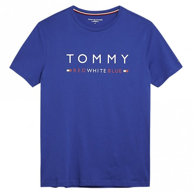 Tommy Hilfiger Pure Cotton Logo Crew Neck T-Shirt, Sodalite Blue