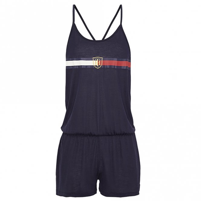 Tommy Hilfiger Pure Lyocell Statement Back Crest Playsuit / Romper, Navy