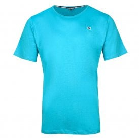 Rubber Flag Logo Crew Neck T-Shirt, Atomic Blue