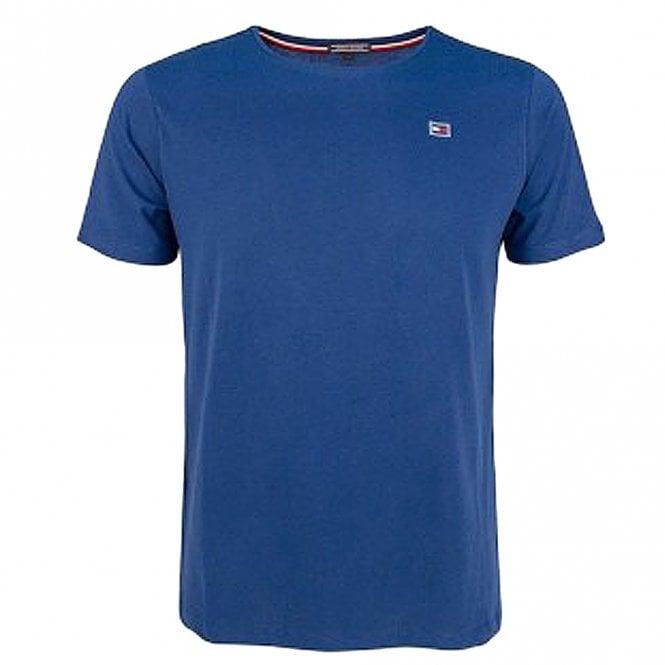 Tommy Hilfiger Rubber Flag Logo Crew Neck T-Shirt, Blue Depths