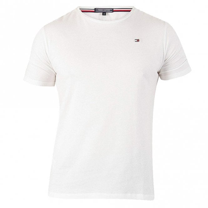 Tommy Hilfiger Rubber Flag Logo Crew Neck T-Shirt, Bright White