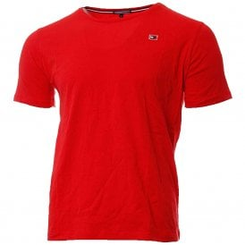 Rubber Flag Logo Crew Neck T-Shirt, Flame Scarlet