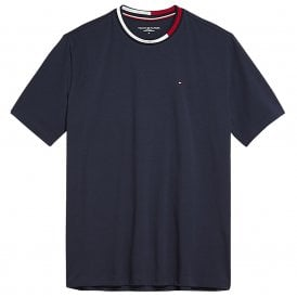 Signature Tape Short Sleeved Crew Neck T-Shirt, Navy Blazer