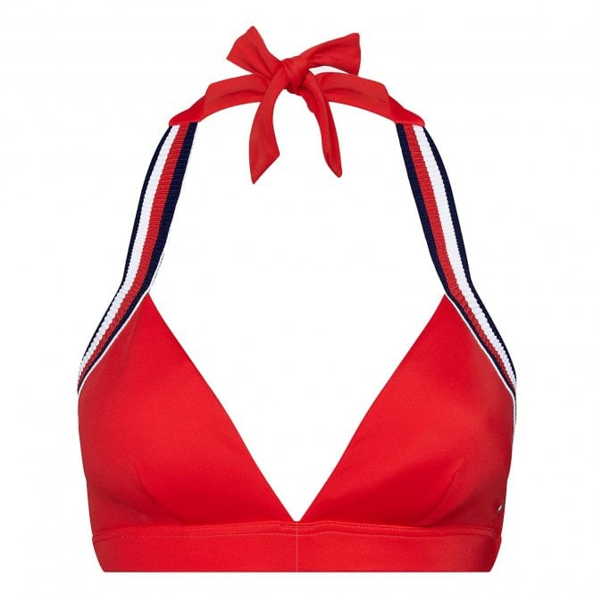 Tommy Hilfiger Signature Tape Triangle Bikini Top, Red Glare