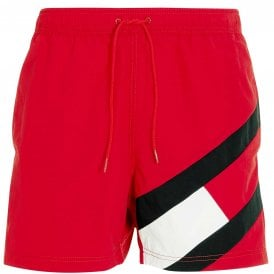 Slim Fit Medium Drawstring Swim Shorts, Primary Red
