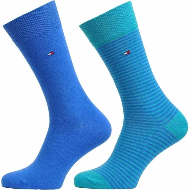 Tommy Hilfiger Small Stripe 2 Pack Cotton Logo Socks, Lake Blue