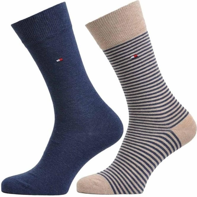 Tommy Hilfiger Small Stripe 2 Pack Cotton Logo Socks, Mid Summer