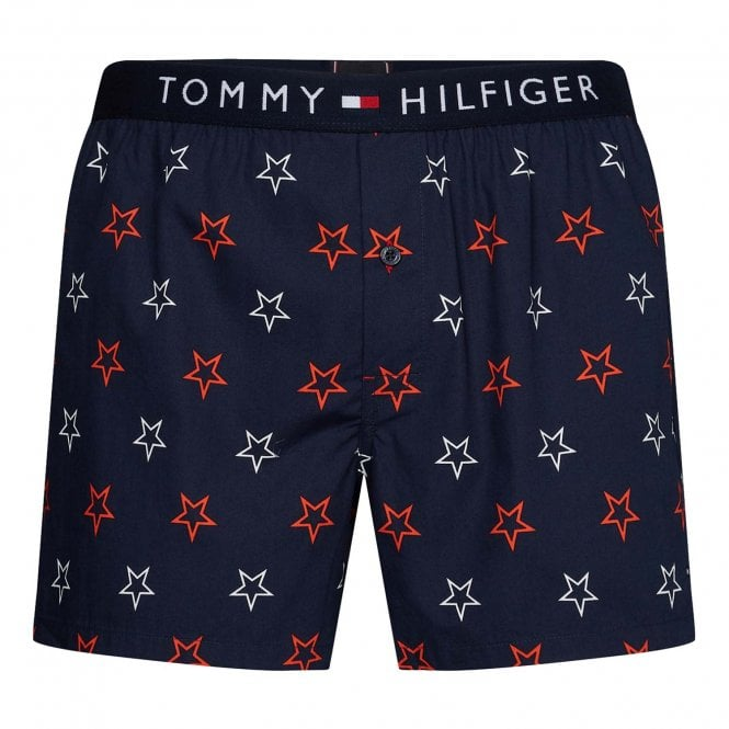 Tommy Hilfiger Stars Pure Cotton Woven Boxer, Navy Blazer
