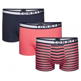 Stretch Cotton Stripe 3-Pack Trunk, Navy / Rose / Rose Stripe