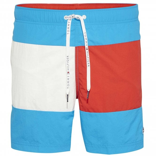 Tommy Hilfiger Colour Block Swim Shorts, Atomic Blue / Flame Scarlett