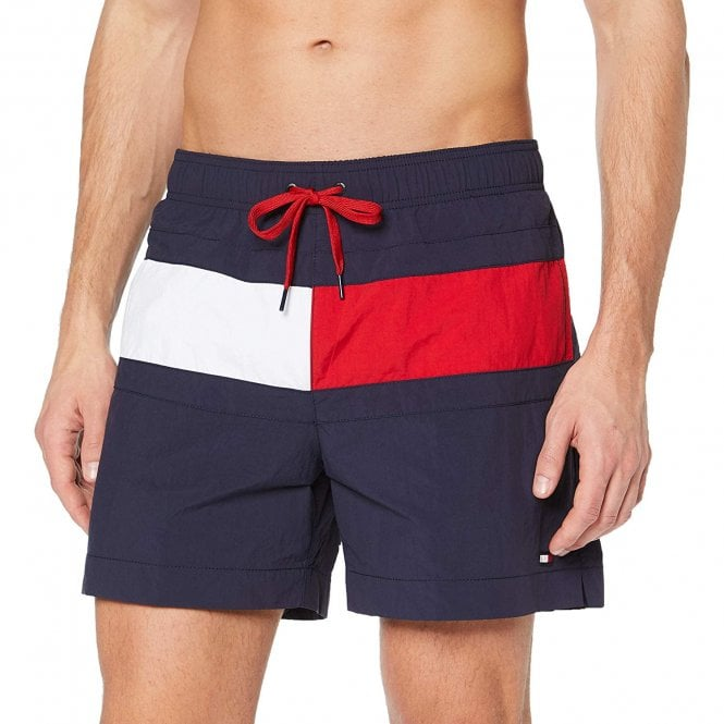 Tommy Hilfiger Colour Blocked Medium Drawstring Swim Shorts, Navy Blazer