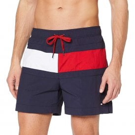 Colour Blocked Medium Drawstring Swim Shorts, Navy Blazer