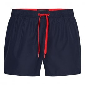 Contrast Drawstring Runner Swim Shorts, Pitch Blue
