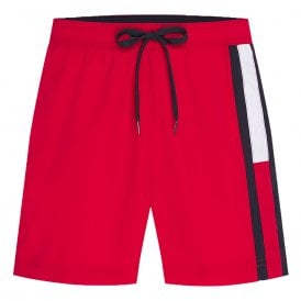 Flag Leg Slim Fit Swim Shorts, Red Glare