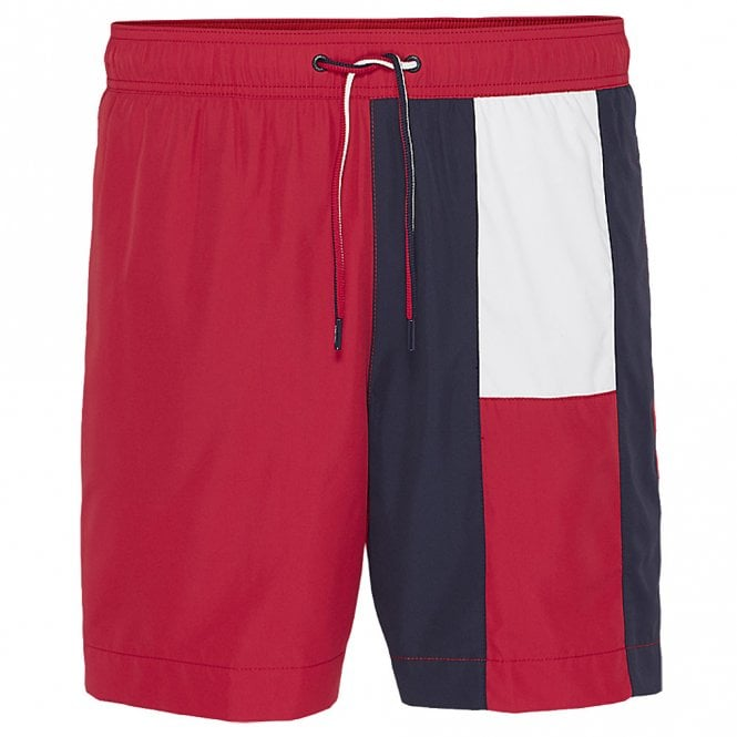 Tommy Hilfiger Flag Longline Swim Shorts, Tango Red