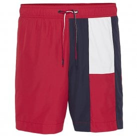 Flag Longline Swim Shorts, Tango Red