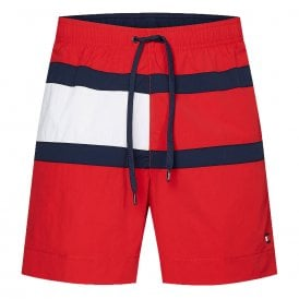 Flag Panel Swim Shorts, Red Glare
