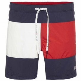 Flag Print Swim Shorts, Navy Blazer / Tango Red