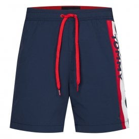 Logo Leg Slim Fit Swim Shorts, Pitch Blue