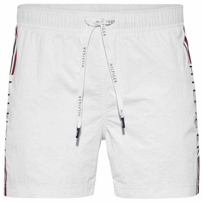 Tommy Hilfiger Logo Leg Swim Shorts, Bright White