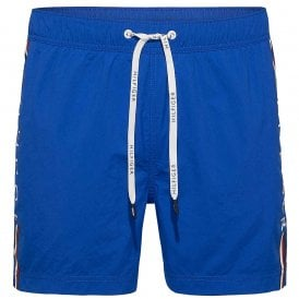 Logo Leg Swim Shorts, Lapis Blue