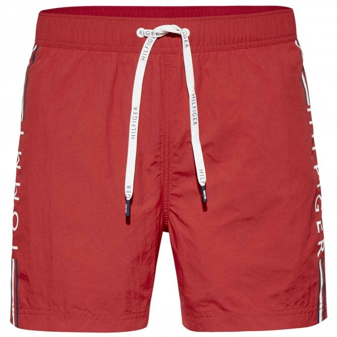 Tommy Hilfiger Logo Leg Swim Shorts, Tango Red