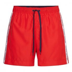 Logo Tape Swim Shorts, Red Glare
