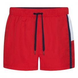 Short Drawstring Swim Shorts, Red Glare