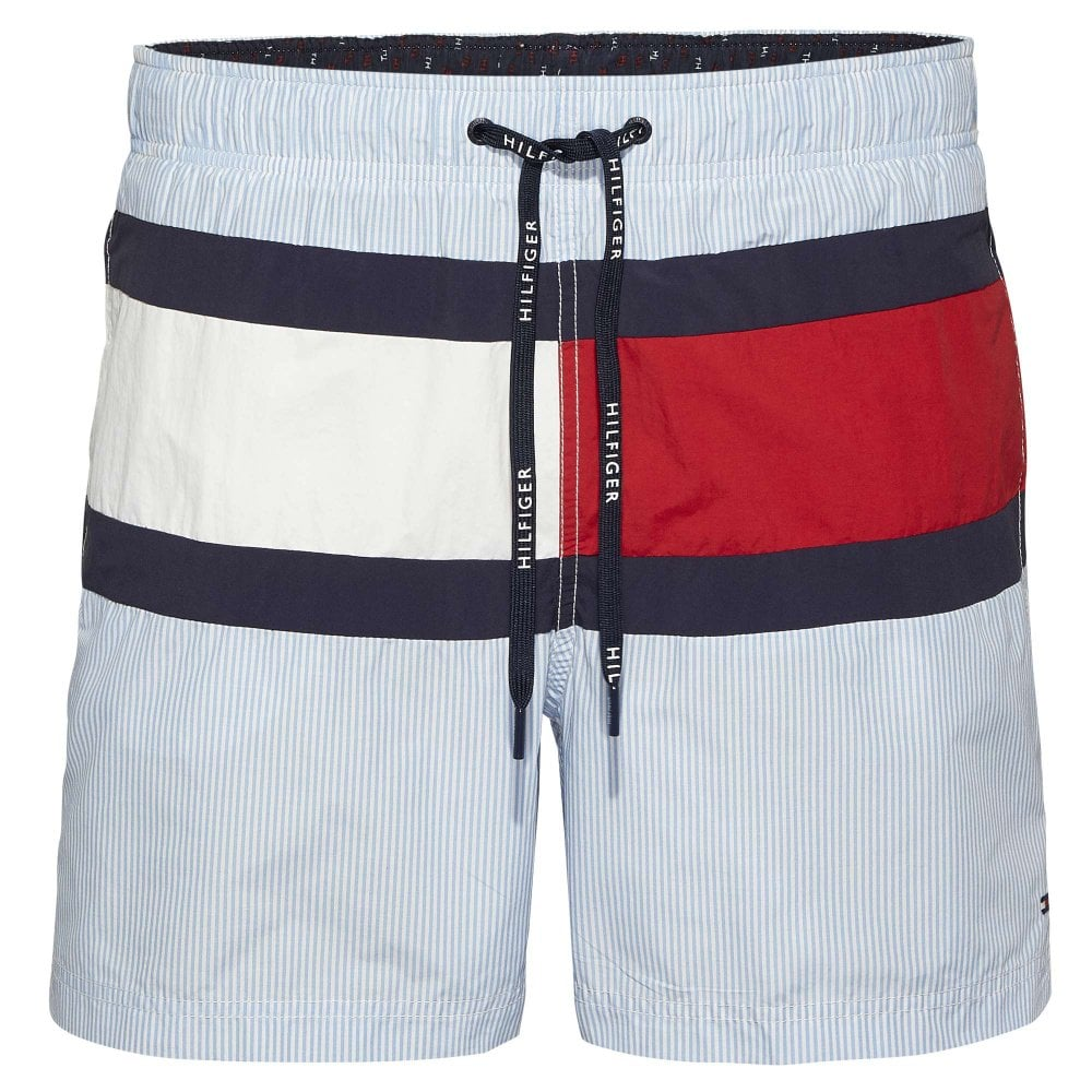 0dbb5a16c6 Tommy Hilfiger Swimwear - Stripe Swim Shorts Silver Lake