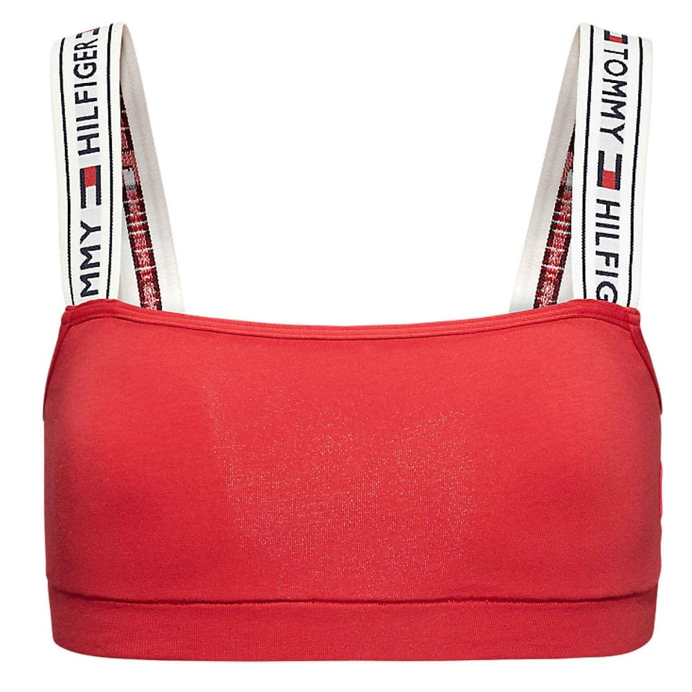 Grey Tommy Hilfiger Women Logo Tape Strap Bralette