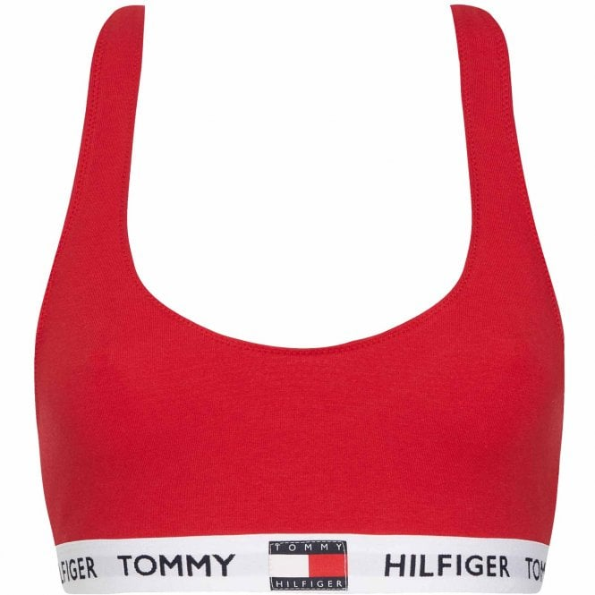 Tommy Hilfiger Organic Cotton Logo Bralette, Tango Red