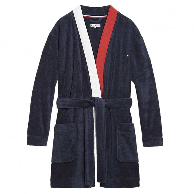 Tommy Hilfiger Women Pure Cotton Bathrobe, Navy Blazer