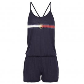Pure Lyocell Statement Back Crest Playsuit / Romper, Navy