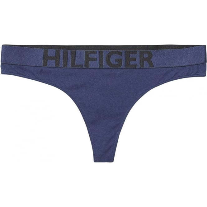 Tommy Hilfiger Women Bold Cotton Thong, Navy