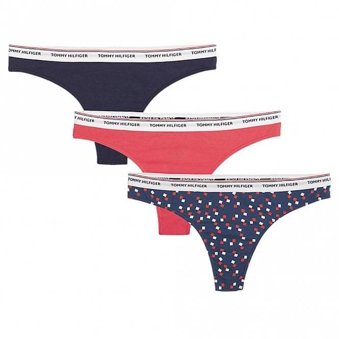 Tommy Hilfiger Essentials 3-Pack Thong, Poinsettia / Spot Print / Navy Blazer