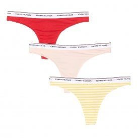 Essentials 3-Pack Thong, Primrose Yellow / Pale Blush / Tango Red