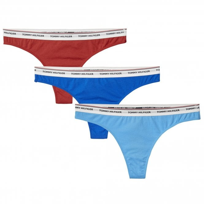 Tommy Hilfiger Women Essentials 3-Pack Thong, Red / Blue / Light Blue